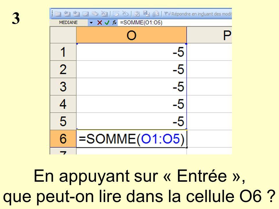 3 En appuyant sur « Entrée », que peut-on lire dans la cellule O6