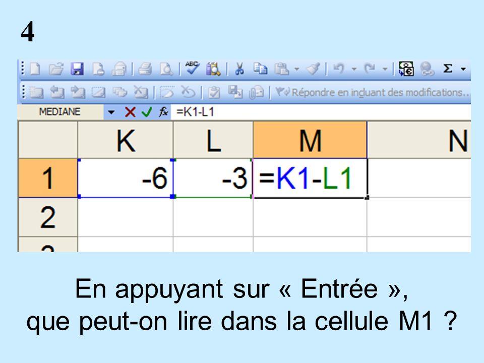 4 En appuyant sur « Entrée », que peut-on lire dans la cellule M1