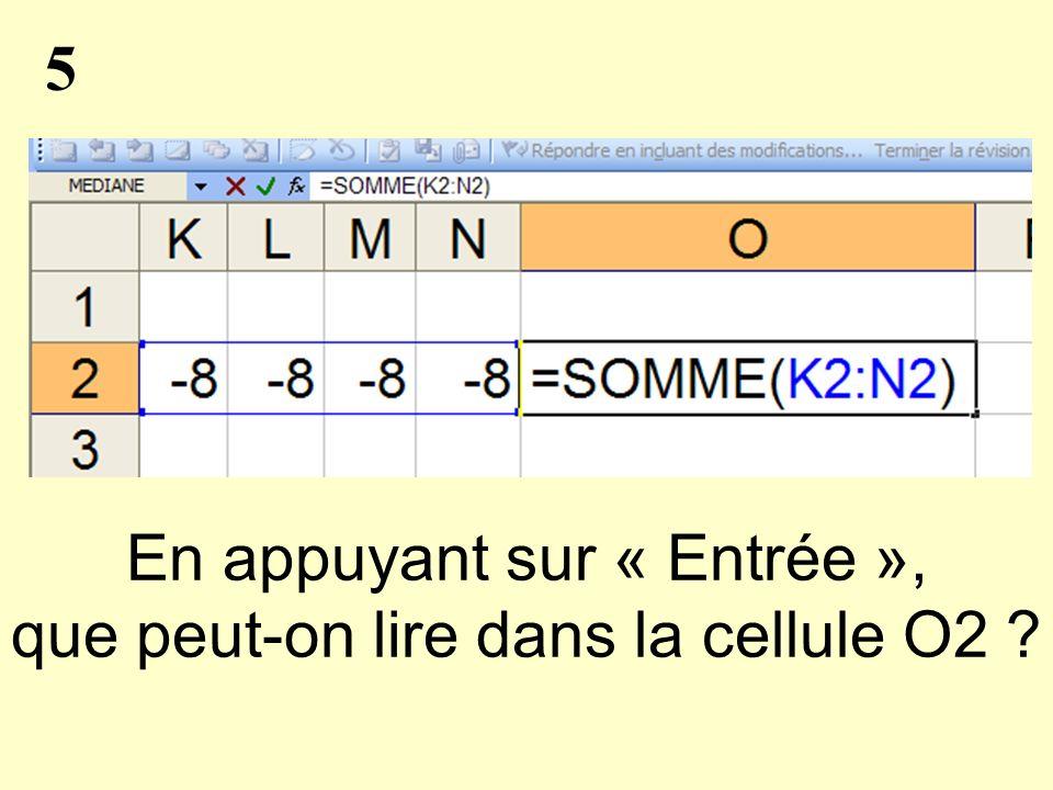 5 En appuyant sur « Entrée », que peut-on lire dans la cellule O2
