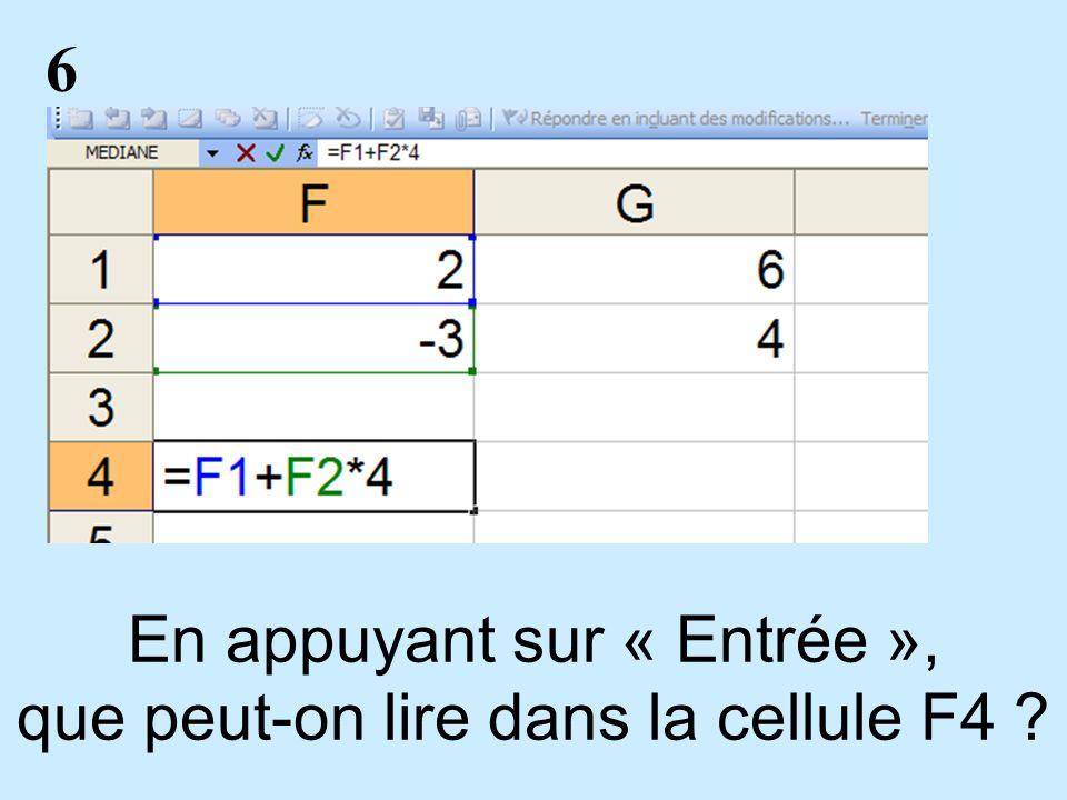 6 En appuyant sur « Entrée », que peut-on lire dans la cellule F4