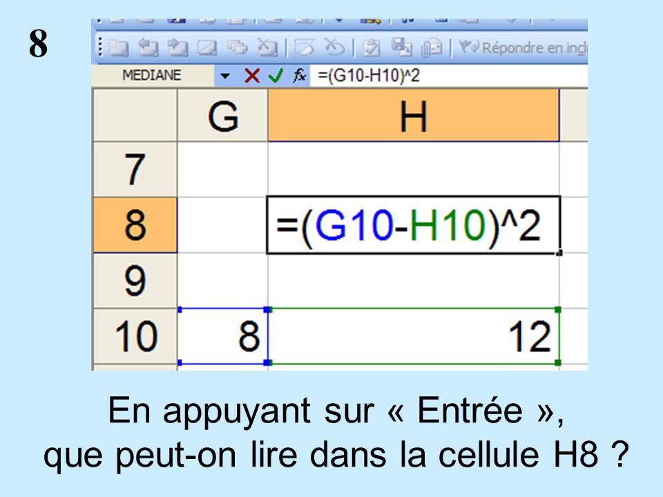 8 En appuyant sur « Entrée », que peut-on lire dans la cellule H8