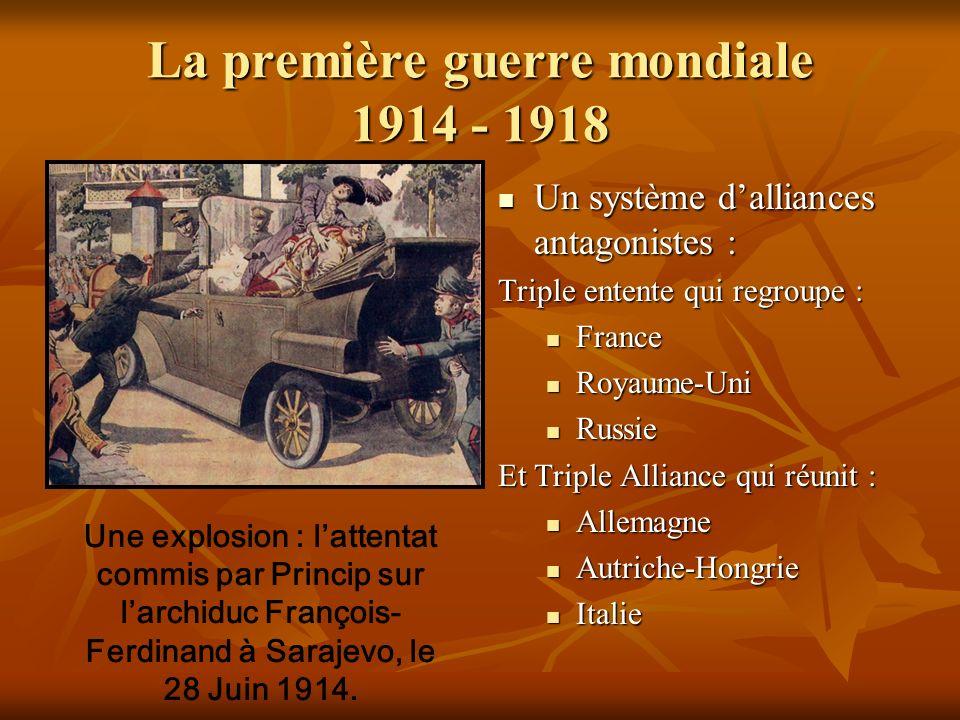 La première guerre mondiale 1914 - 1918 Un système dalliances antagonistes : Un système dalliances antagonistes : Triple entente qui regroupe : France