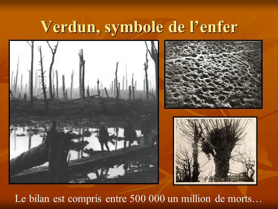 Verdun, symbole de lenfer Le bilan est compris entre 500 000 un million de morts…