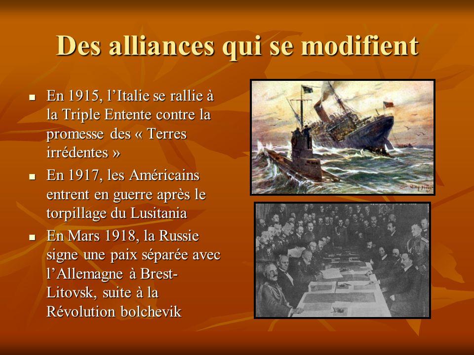 Des alliances qui se modifient En 1915, lItalie se rallie à la Triple Entente contre la promesse des « Terres irrédentes » En 1915, lItalie se rallie