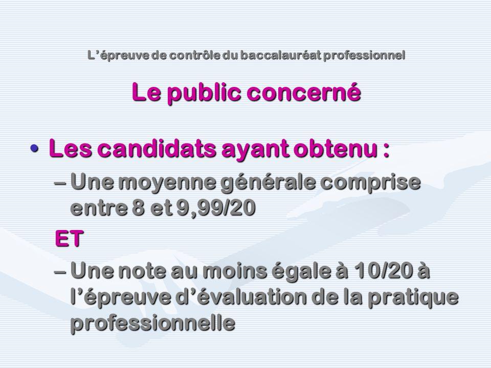 Les candidats ayant obtenu :Les candidats ayant obtenu : –Une moyenne générale comprise entre 8 et 9,99/20 ET –Une note au moins égale à 10/20 à lépre