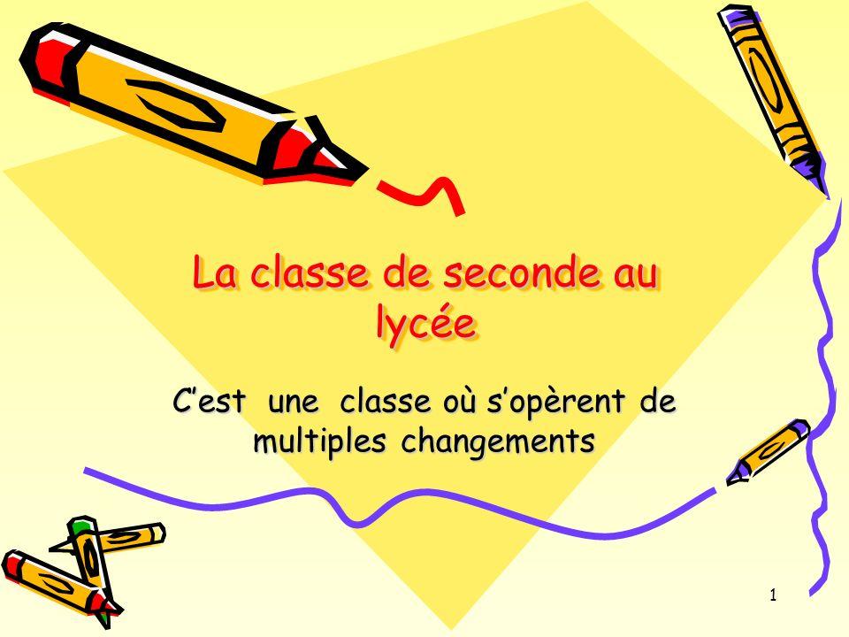 1 La classe de seconde au lycée Cest une classe où sopèrent de multiples changements