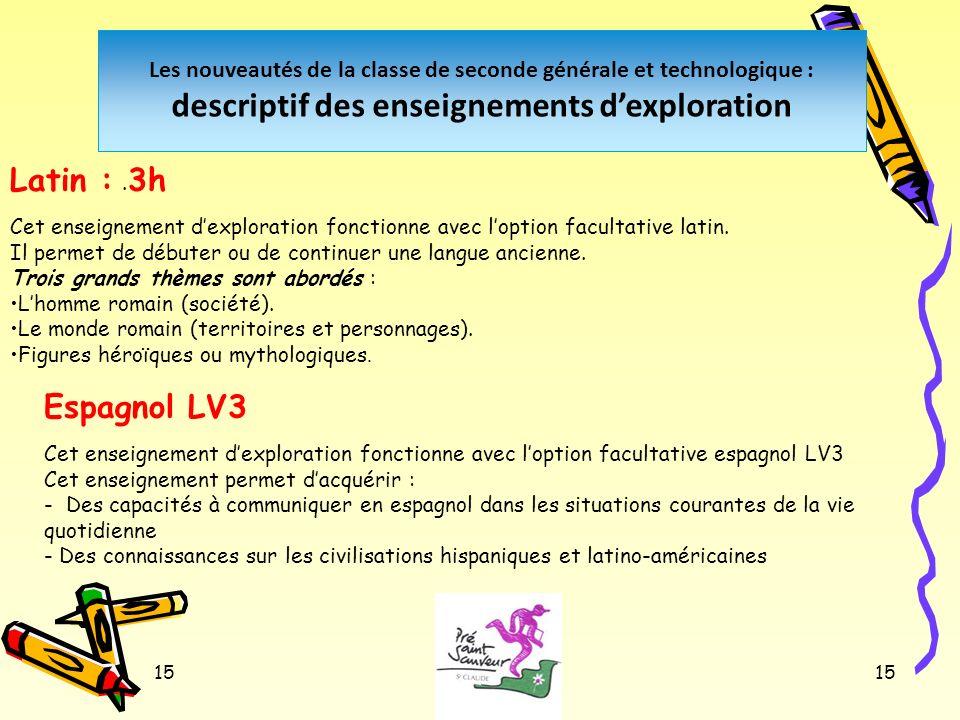 15 Les nouveautés de la classe de seconde générale et technologique : descriptif des enseignements dexploration. Latin : 3h Cet enseignement dexplorat