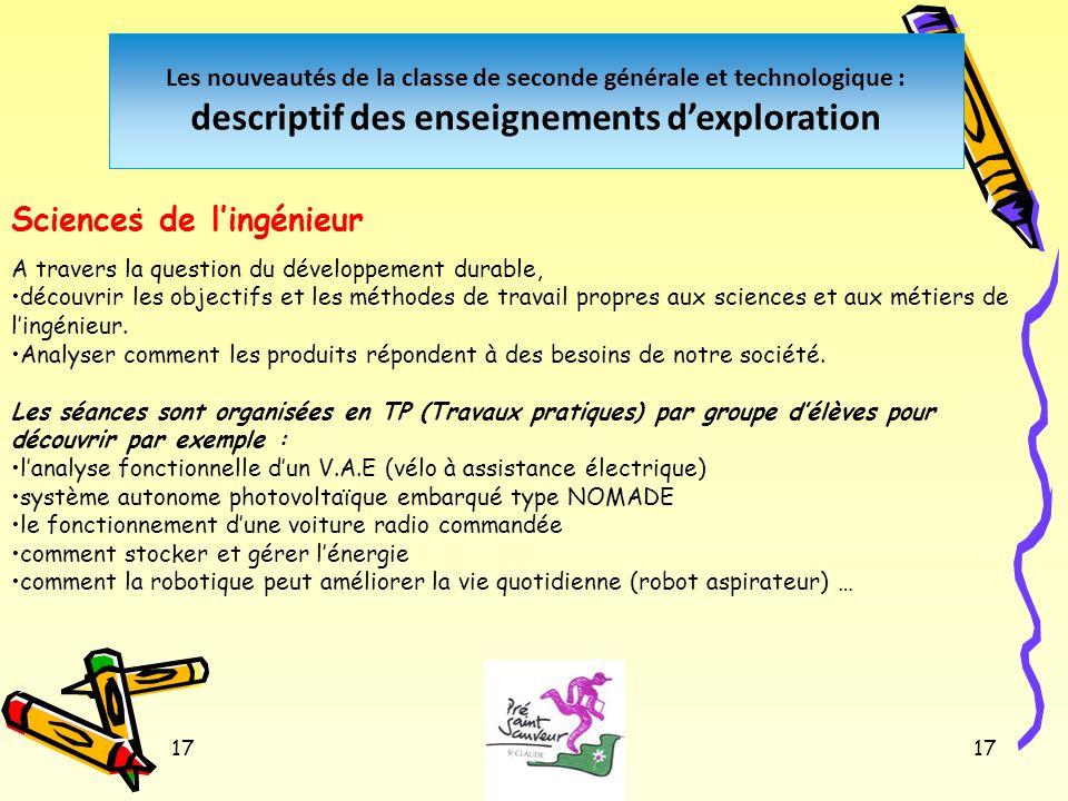 17 Les nouveautés de la classe de seconde générale et technologique : descriptif des enseignements dexploration. Sciences de lingénieur A travers la q