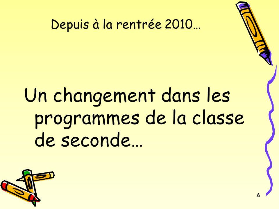 6 Depuis à la rentrée 2010… Un changement dans les programmes de la classe de seconde…