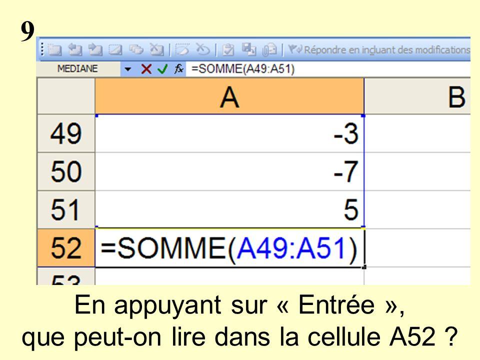 9 En appuyant sur « Entrée », que peut-on lire dans la cellule A52