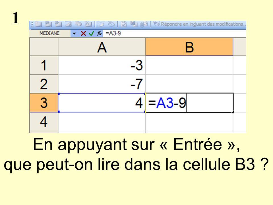 1 En appuyant sur « Entrée », que peut-on lire dans la cellule B3 ?