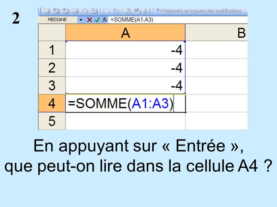2 En appuyant sur « Entrée », que peut-on lire dans la cellule A4 ?
