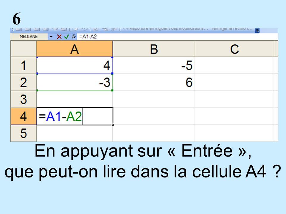 7 En appuyant sur « Entrée », que peut-on lire dans la cellule I4 ?