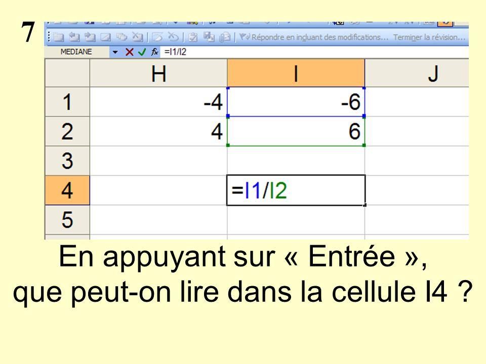 7 En appuyant sur « Entrée », que peut-on lire dans la cellule I4