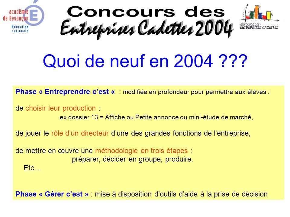 Quoi de neuf en 2004 ??? Phase « Entreprendre cest « : modifiée en profondeur pour permettre aux élèves : de choisir leur production : ex dossier 13 =