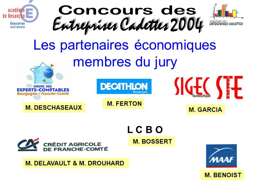 Les partenaires économiques membres du jury L C B O M. DESCHASEAUX M. GARCIA M. DELAVAULT & M. DROUHARD M. FERTON M. BENOIST M. BOSSERT