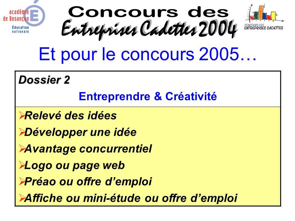 Et pour le concours 2005… Dossier 2 Entreprendre & Créativité Relevé des idées Développer une idée Avantage concurrentiel Logo ou page web Préao ou of