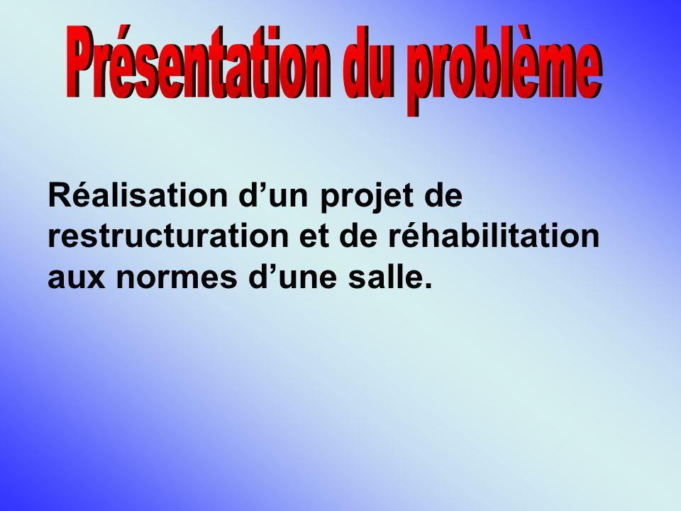 Réalisation dun projet de restructuration et de réhabilitation aux normes dune salle.