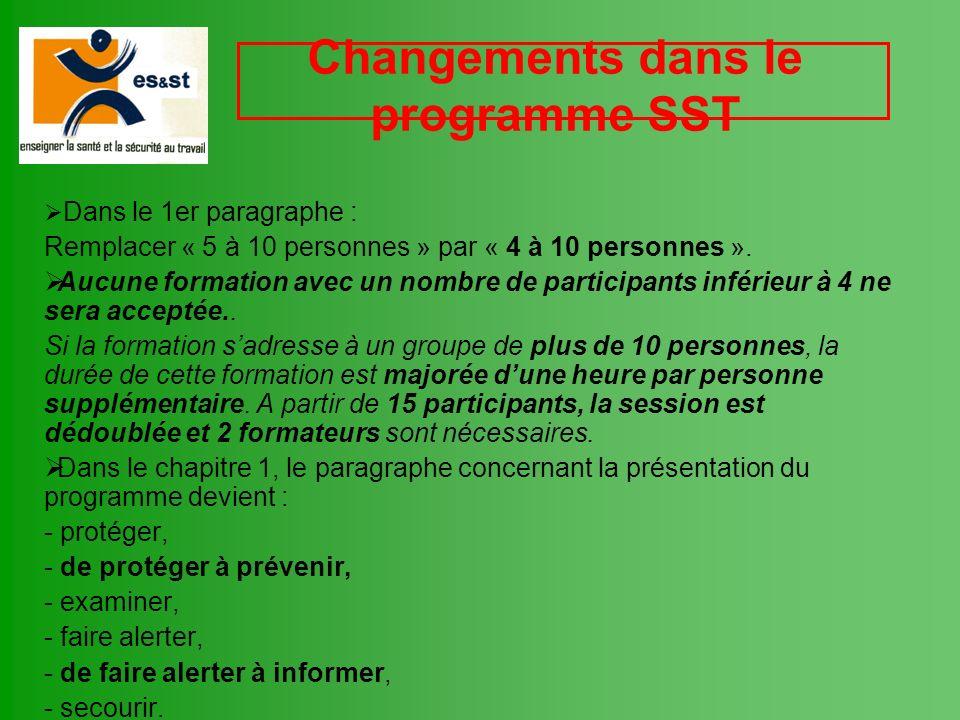 Changements dans le programme SST Dans le 1er paragraphe : Remplacer « 5 à 10 personnes » par « 4 à 10 personnes ». Aucune formation avec un nombre de