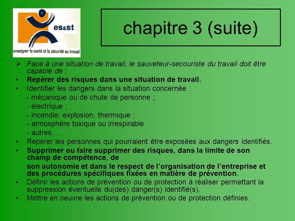 chapitre 3 (suite) Face à une situation de travail, le sauveteur-secouriste du travail doit être capable de : Repérer des risques dans une situation d