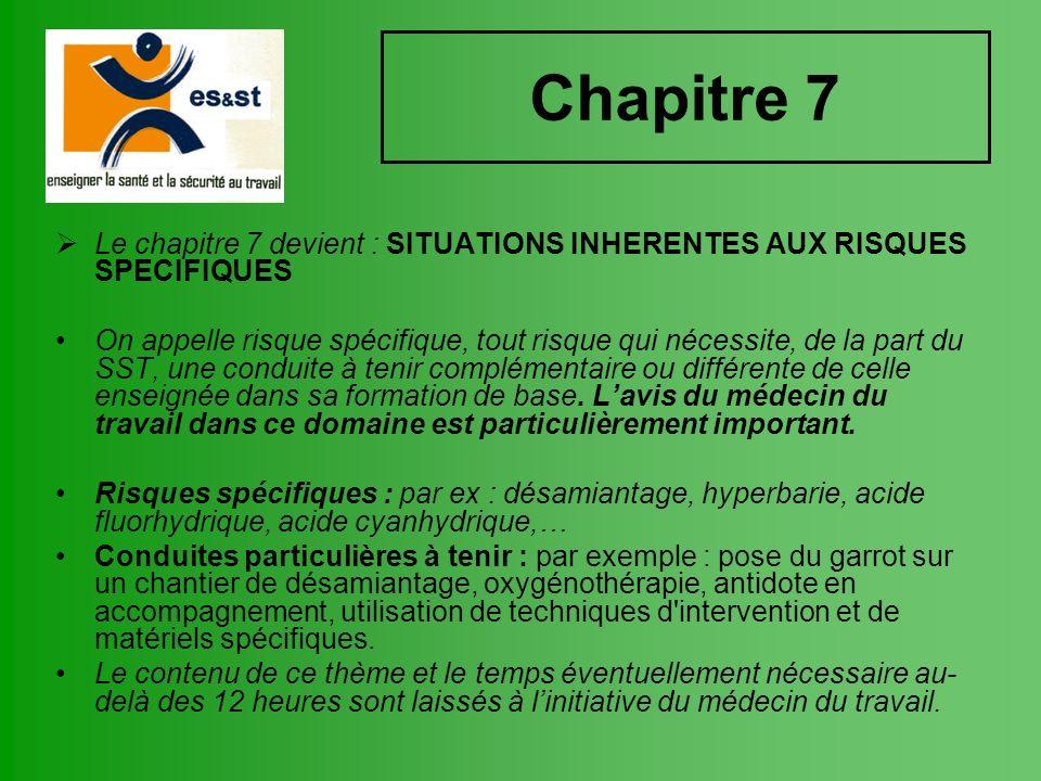 Chapitre 7 Le chapitre 7 devient : SITUATIONS INHERENTES AUX RISQUES SPECIFIQUES On appelle risque spécifique, tout risque qui nécessite, de la part d