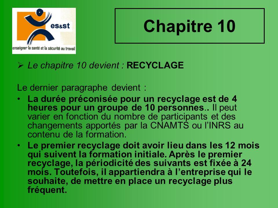 Chapitre 10 Le chapitre 10 devient : RECYCLAGE Le dernier paragraphe devient : La durée préconisée pour un recyclage est de 4 heures pour un groupe de