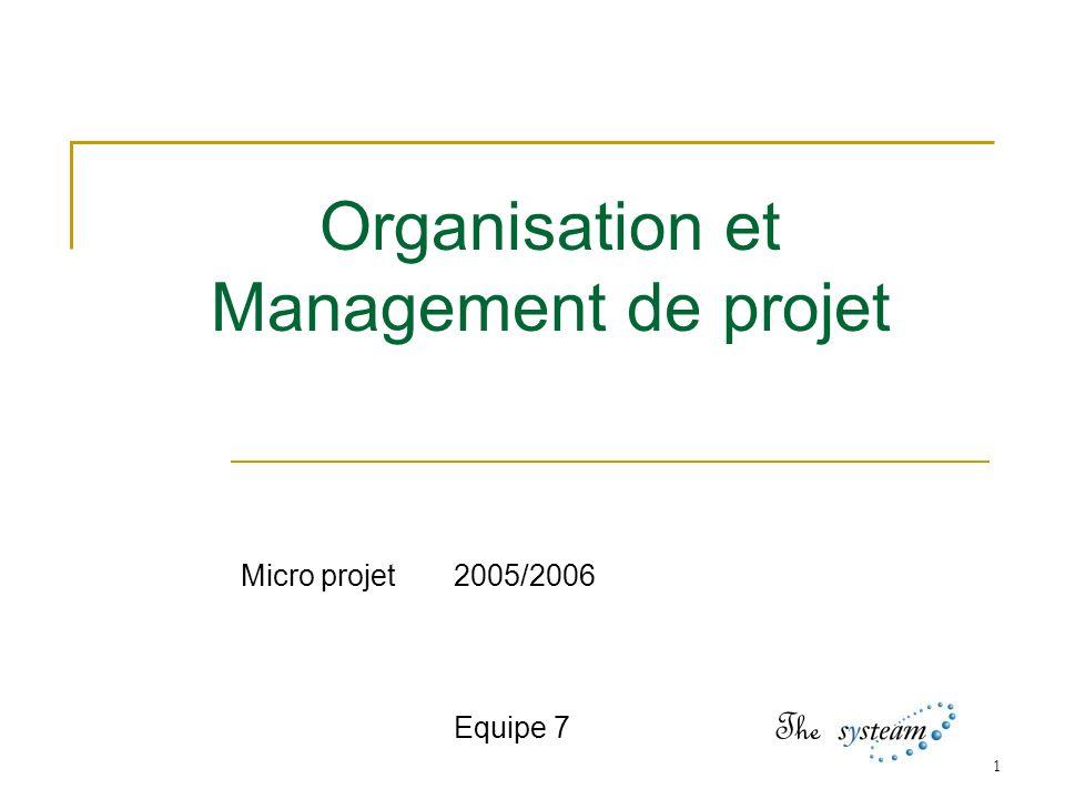 1 Organisation et Management de projet Micro projet2005/2006 Equipe 7 The