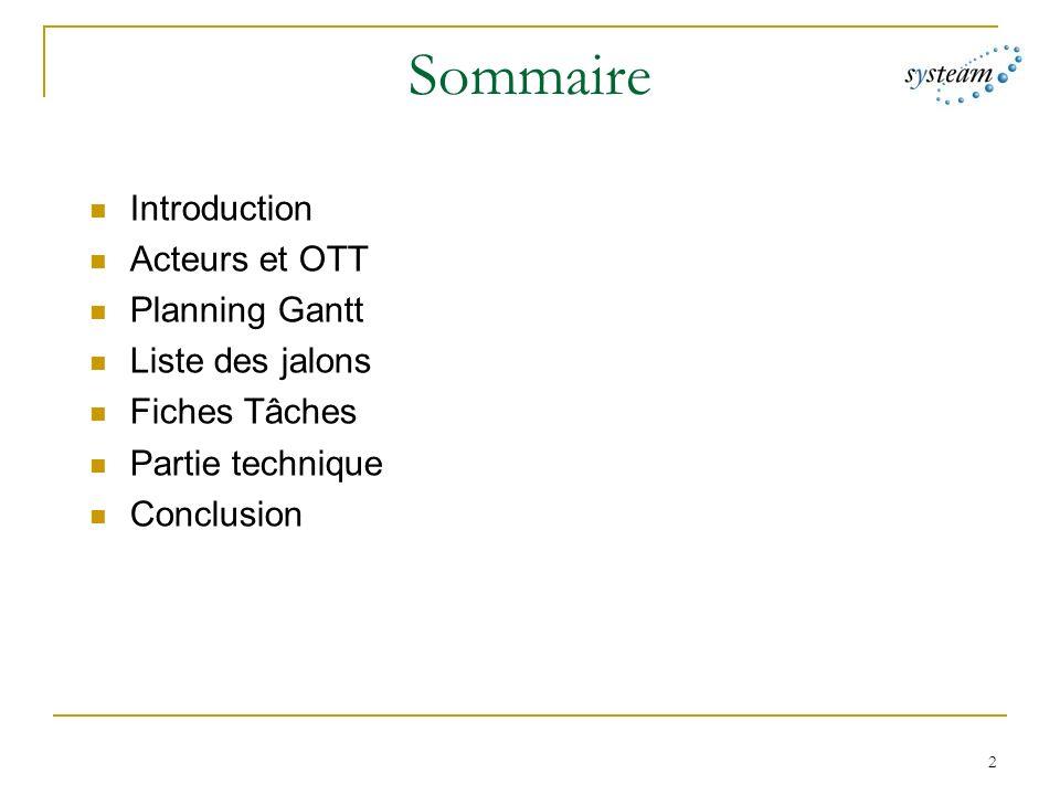 2 Sommaire Introduction Acteurs et OTT Planning Gantt Liste des jalons Fiches Tâches Partie technique Conclusion