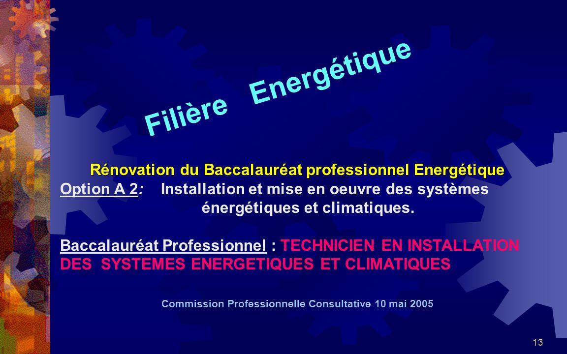 13 Filière Energétique Rénovation du Baccalauréat professionnel Energétique Option A 2: Installation et mise en oeuvre des systèmes énergétiques et climatiques.