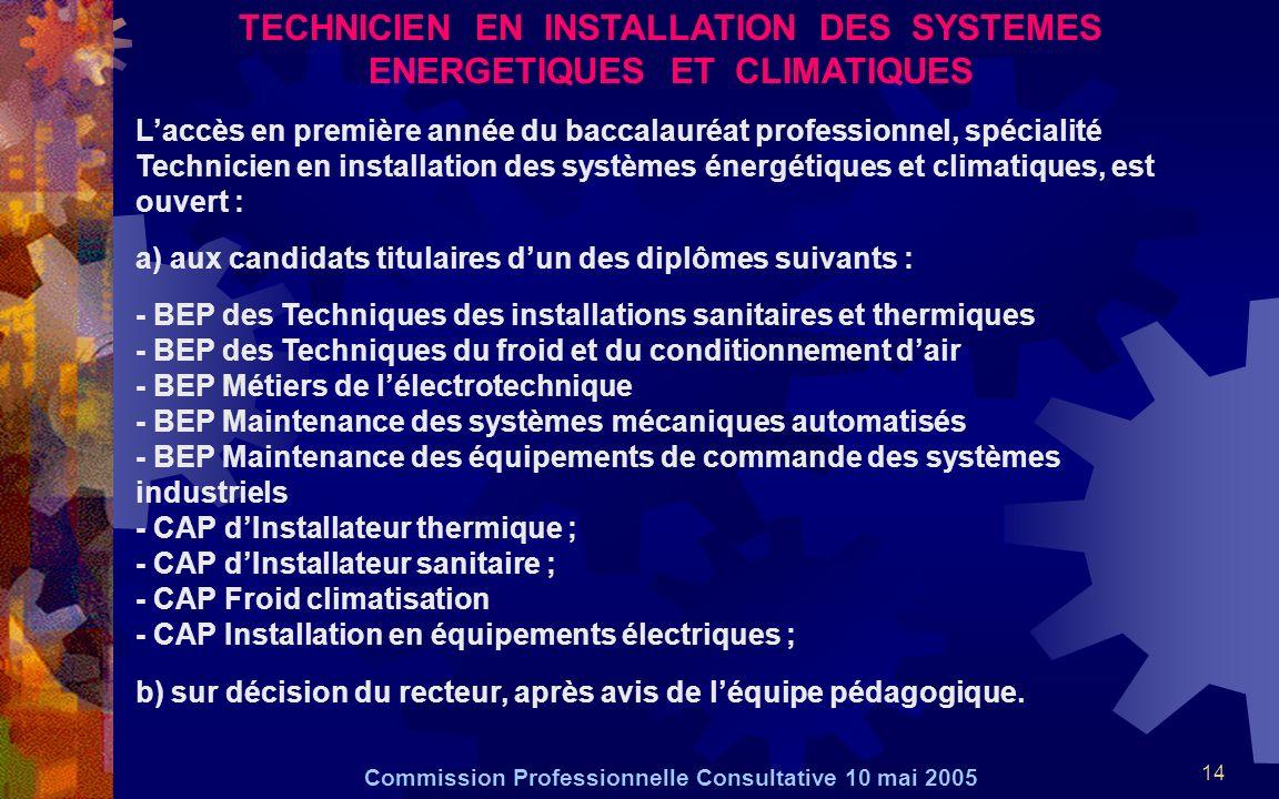 14 TECHNICIEN EN INSTALLATION DES SYSTEMES ENERGETIQUES ET CLIMATIQUES Laccès en première année du baccalauréat professionnel, spécialité Technicien e