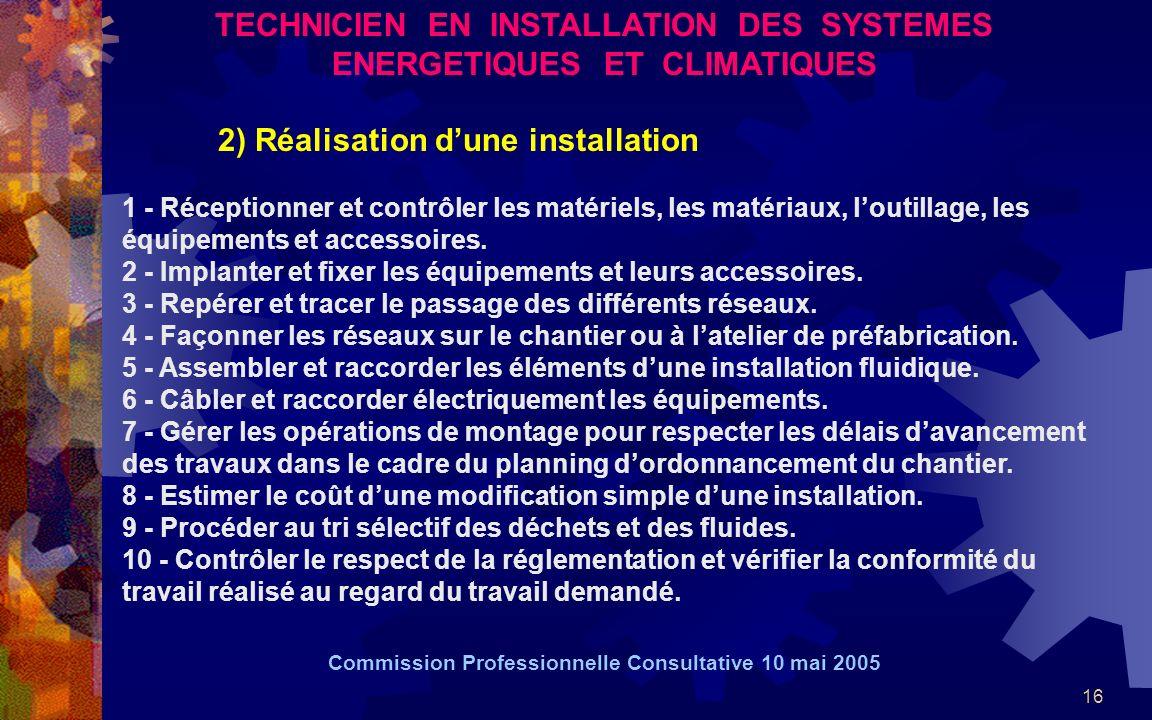 16 TECHNICIEN EN INSTALLATION DES SYSTEMES ENERGETIQUES ET CLIMATIQUES 2) Réalisation dune installation 1 - Réceptionner et contrôler les matériels, l