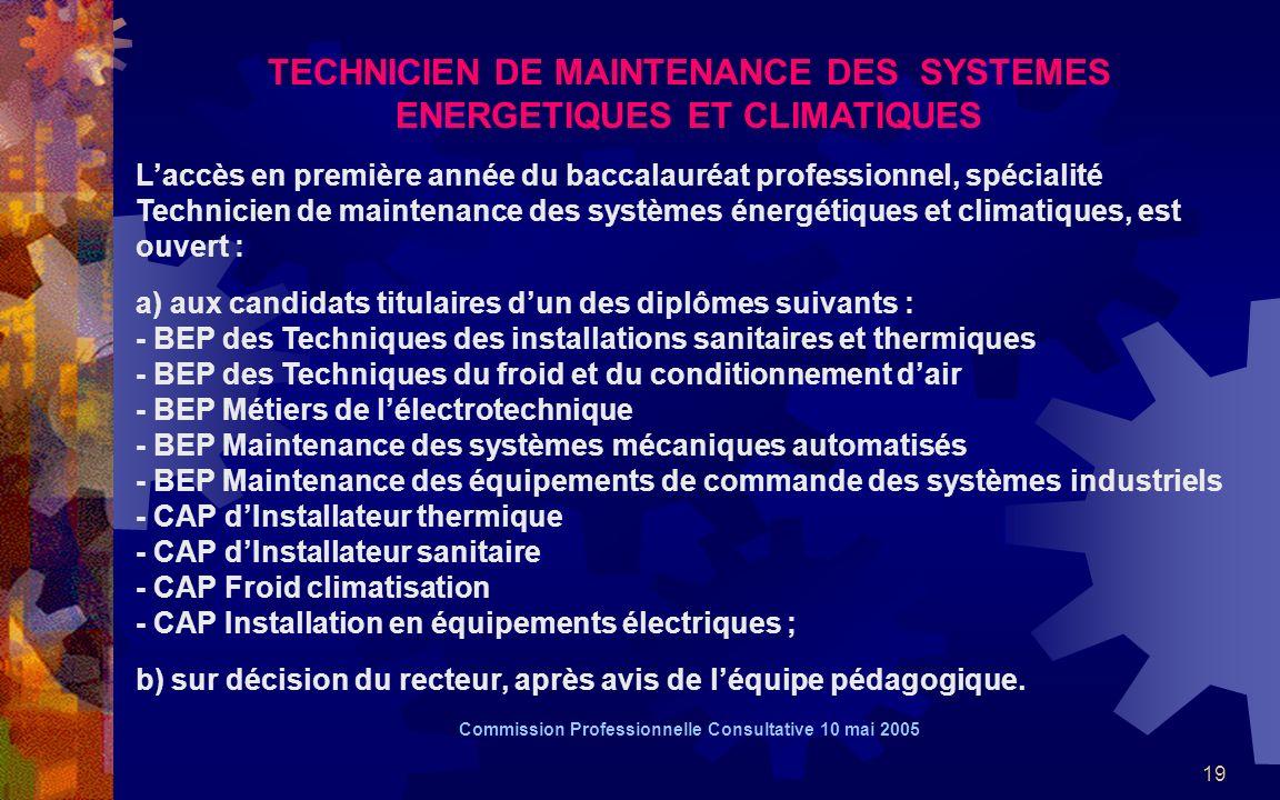 19 TECHNICIEN DE MAINTENANCE DES SYSTEMES ENERGETIQUES ET CLIMATIQUES Laccès en première année du baccalauréat professionnel, spécialité Technicien de