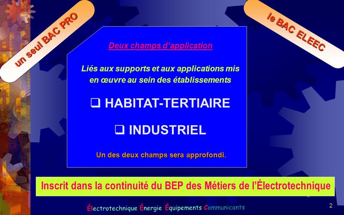 2 Électrotechnique Énergie Équipements Communicants un seul BAC PRO le BAC ELEEC seul Deux champs dapplication Liés aux supports et aux applications m