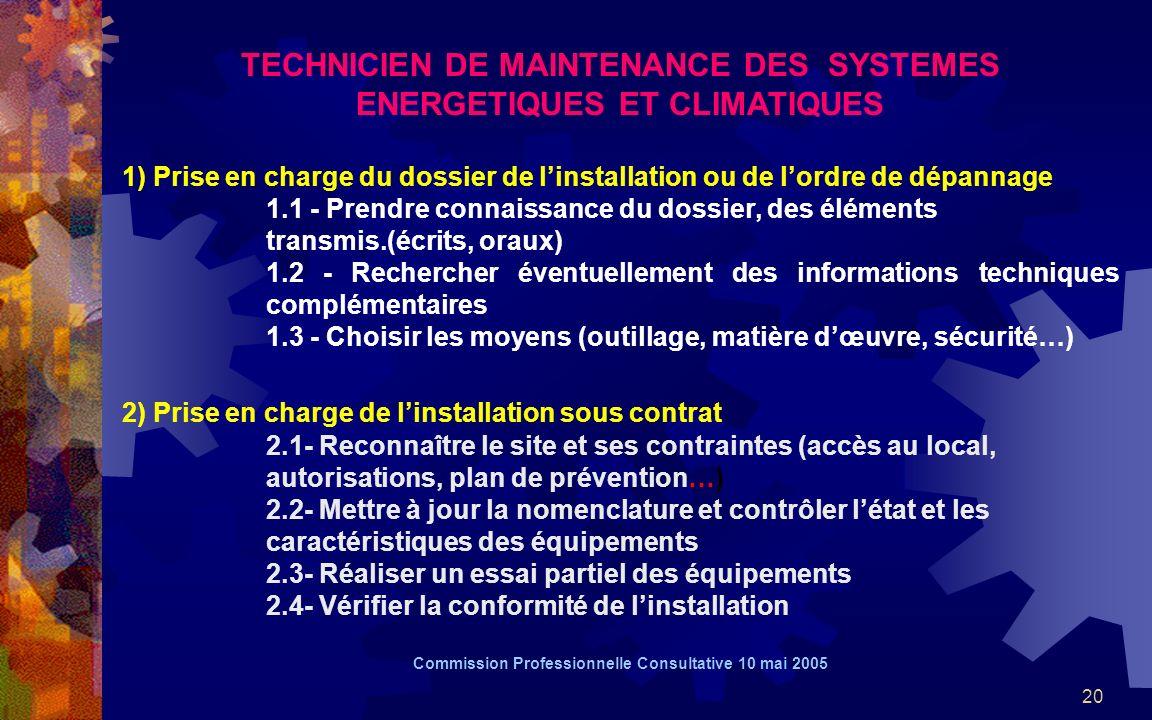 20 TECHNICIEN DE MAINTENANCE DES SYSTEMES ENERGETIQUES ET CLIMATIQUES 1) Prise en charge du dossier de linstallation ou de lordre de dépannage 1.1 - Prendre connaissance du dossier, des éléments transmis.(écrits, oraux) 1.2 - Rechercher éventuellement des informations techniques complémentaires 1.3 - Choisir les moyens (outillage, matière dœuvre, sécurité…) 2) Prise en charge de linstallation sous contrat 2.1- Reconnaître le site et ses contraintes (accès au local, autorisations, plan de prévention…) 2.2- Mettre à jour la nomenclature et contrôler létat et les caractéristiques des équipements 2.3- Réaliser un essai partiel des équipements 2.4- Vérifier la conformité de linstallation Commission Professionnelle Consultative 10 mai 2005
