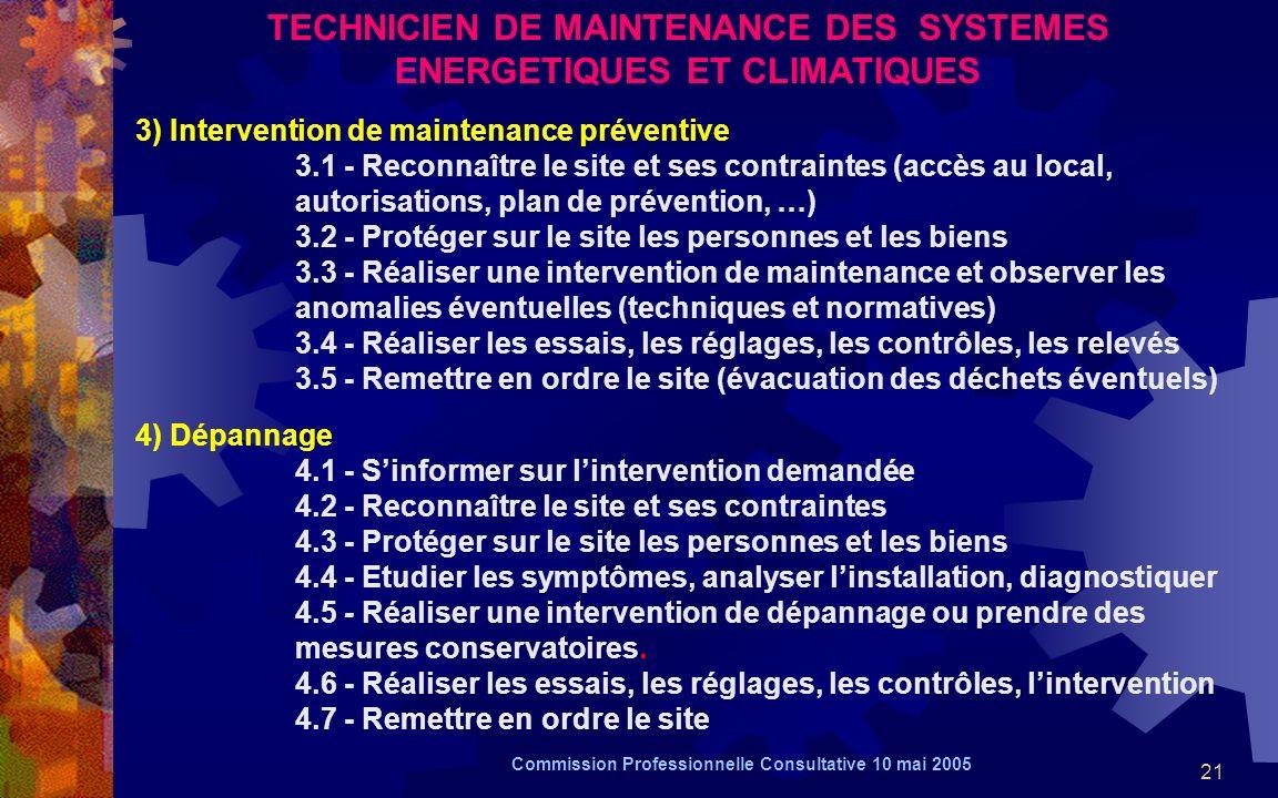 21 TECHNICIEN DE MAINTENANCE DES SYSTEMES ENERGETIQUES ET CLIMATIQUES 3) Intervention de maintenance préventive 3.1 - Reconnaître le site et ses contraintes (accès au local, autorisations, plan de prévention, …) 3.2 - Protéger sur le site les personnes et les biens 3.3 - Réaliser une intervention de maintenance et observer les anomalies éventuelles (techniques et normatives) 3.4 - Réaliser les essais, les réglages, les contrôles, les relevés 3.5 - Remettre en ordre le site (évacuation des déchets éventuels) 4) Dépannage 4.1 - Sinformer sur lintervention demandée 4.2 - Reconnaître le site et ses contraintes 4.3 - Protéger sur le site les personnes et les biens 4.4 - Etudier les symptômes, analyser linstallation, diagnostiquer 4.5 - Réaliser une intervention de dépannage ou prendre des mesures conservatoires.