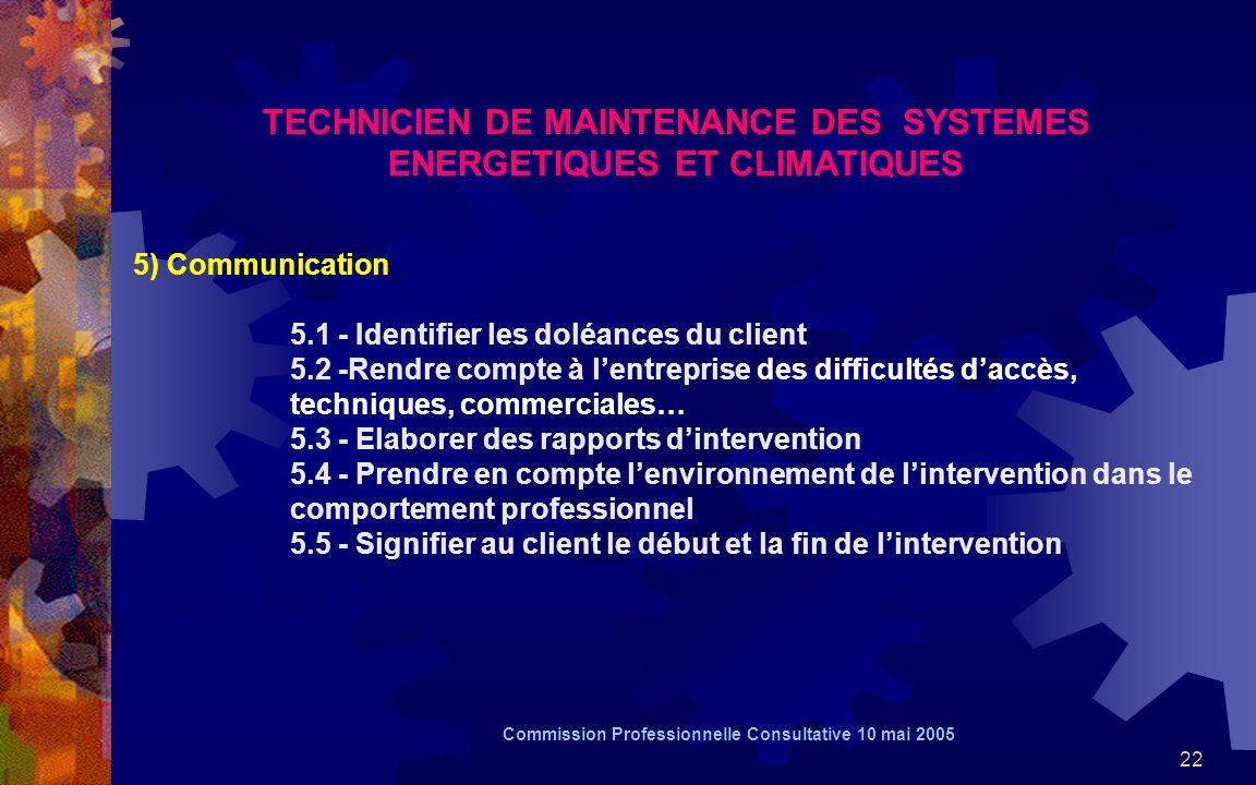 22 TECHNICIEN DE MAINTENANCE DES SYSTEMES ENERGETIQUES ET CLIMATIQUES 5) Communication 5.1 - Identifier les doléances du client 5.2 -Rendre compte à l