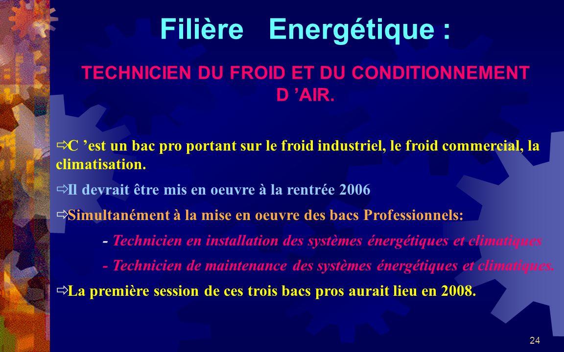 24 Filière Energétique : TECHNICIEN DU FROID ET DU CONDITIONNEMENT D AIR. C est un bac pro portant sur le froid industriel, le froid commercial, la cl