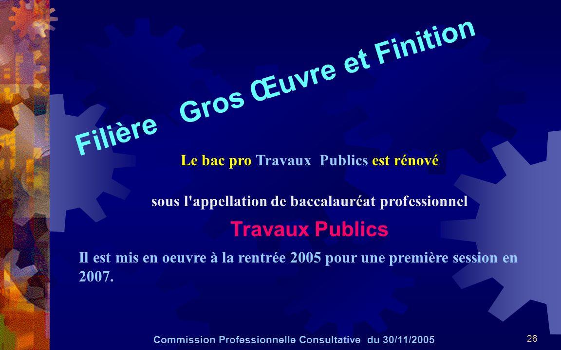 26 Filière Gros Œuvre et Finition Commission Professionnelle Consultative du 30/11/2005 Le bac pro Travaux Publics est rénové sous l'appellation de ba