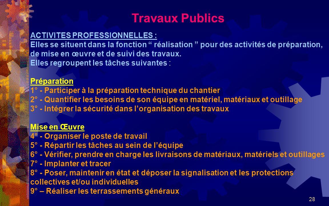 28 Travaux Publics ACTIVITES PROFESSIONNELLES : Elles se situent dans la fonction réalisation pour des activités de préparation, de mise en œuvre et de suivi des travaux.