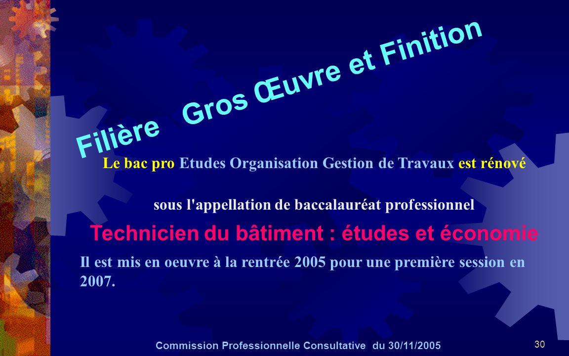 30 Filière Gros Œuvre et Finition Commission Professionnelle Consultative du 30/11/2005 Le bac pro Etudes Organisation Gestion de Travaux est rénové s