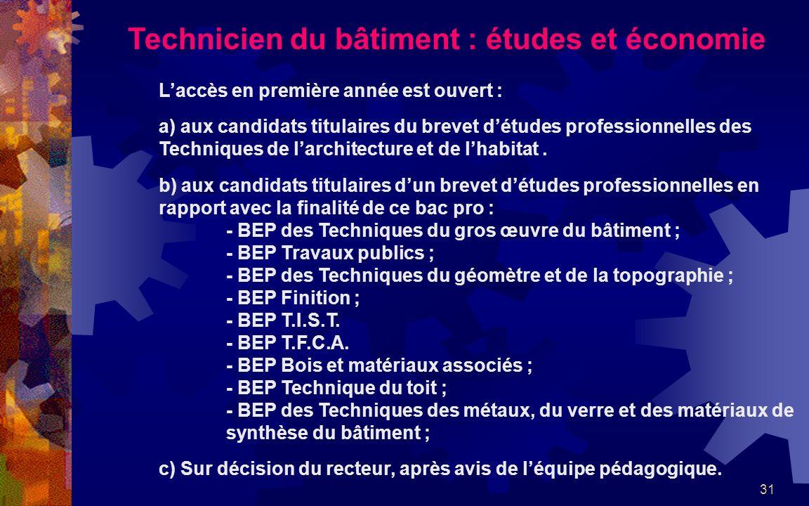 31 Technicien du bâtiment : études et économie Laccès en première année est ouvert : a) aux candidats titulaires du brevet détudes professionnelles des Techniques de larchitecture et de lhabitat.