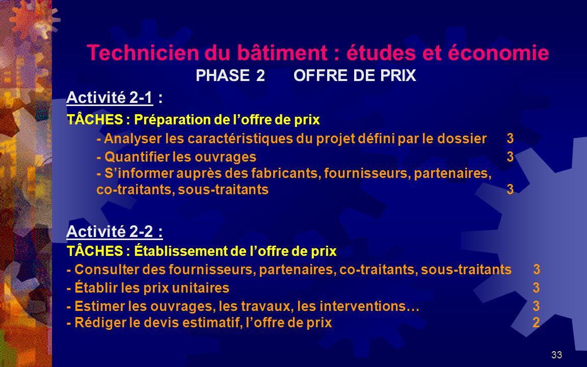 33 Technicien du bâtiment : études et économie PHASE 2OFFRE DE PRIX Activité 2-1 : TÂCHES : Préparation de loffre de prix - Analyser les caractéristiq