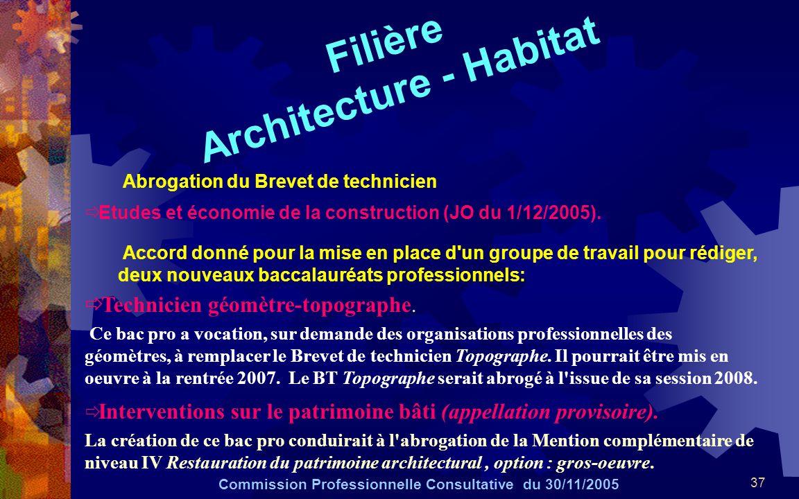 37 Filière Architecture - Habitat Commission Professionnelle Consultative du 30/11/2005 Abrogation du Brevet de technicien Etudes et économie de la construction (JO du 1/12/2005).