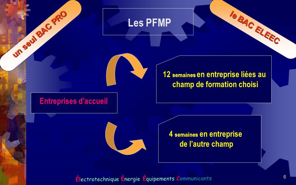 6 Électrotechnique Énergie Équipements Communicants un seul BAC PRO le BAC ELEEC Les PFMP Entreprises daccueil 12 semaines en entreprise liées au cham
