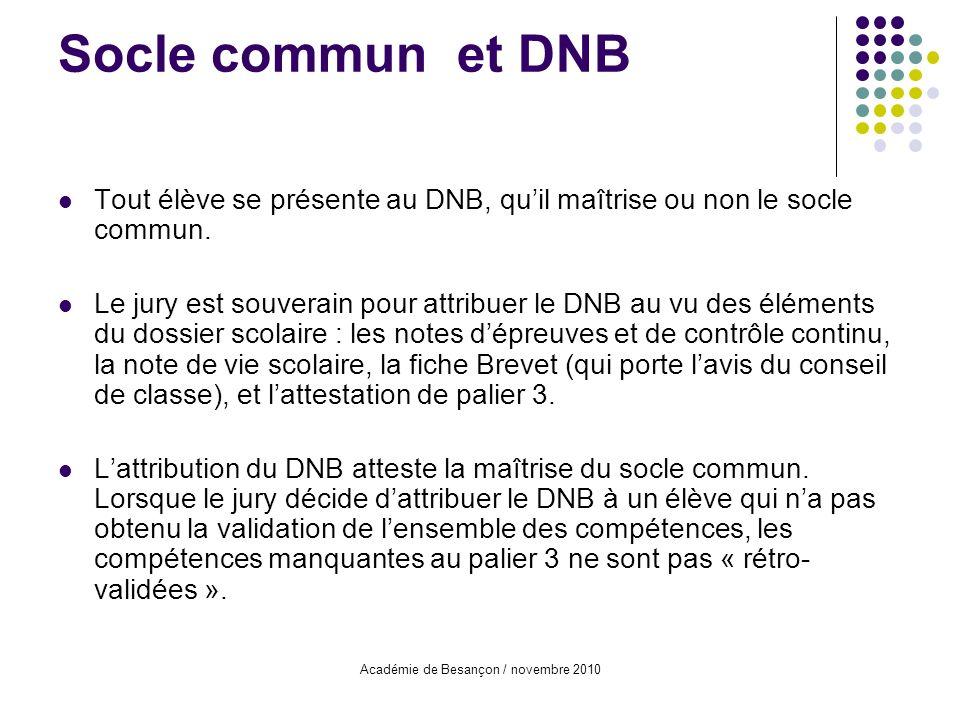 Académie de Besançon / novembre 2010 Socle commun et DNB Tout élève se présente au DNB, quil maîtrise ou non le socle commun. Le jury est souverain po