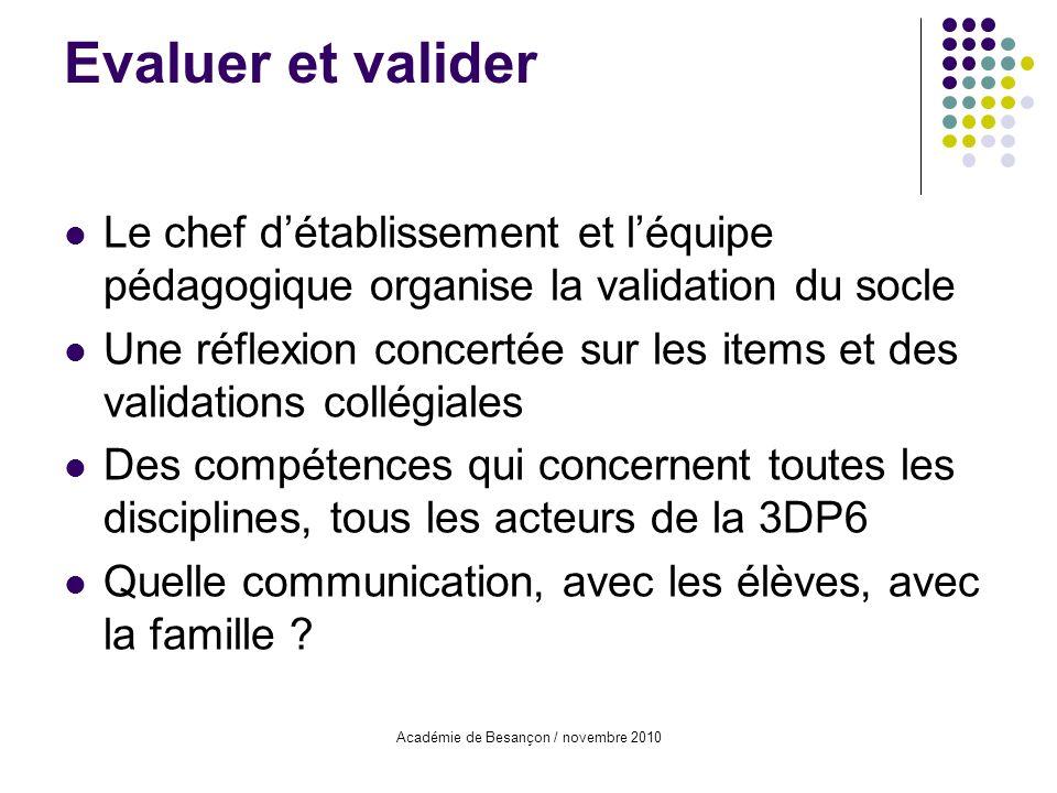 Académie de Besançon / novembre 2010 Le chef détablissement et léquipe pédagogique organise la validation du socle Une réflexion concertée sur les ite