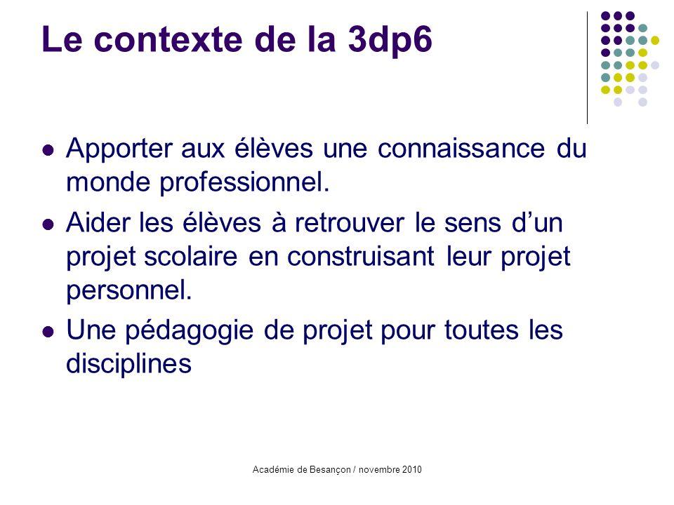 Académie de Besançon / novembre 2010 Le contexte de la 3dp6 Apporter aux élèves une connaissance du monde professionnel. Aider les élèves à retrouver