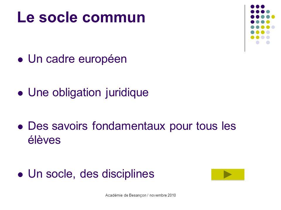 Académie de Besançon / novembre 2010 Le socle commun Un cadre européen Une obligation juridique Des savoirs fondamentaux pour tous les élèves Un socle