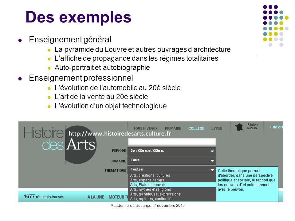 Académie de Besançon / novembre 2010 Des exemples Enseignement général La pyramide du Louvre et autres ouvrages darchitecture Laffiche de propagande d