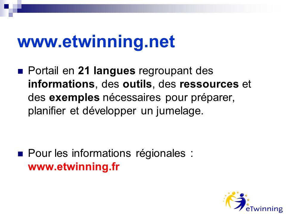 www.etwinning.net Portail en 21 langues regroupant des informations, des outils, des ressources et des exemples nécessaires pour préparer, planifier et développer un jumelage.